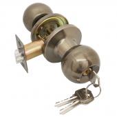 Замок ручка ASSOL  бронза  круглая с ключем  204426