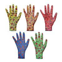 Перчатки нейлон с нитрилов покрытием, раз 10*  188037 в цветочек