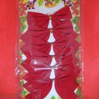 Бант на елку Красный  бархат  9*7  см набор 6 шт 185977