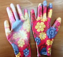 Перчатки нейлон с полиуретановым  покрытием Цветы/12*