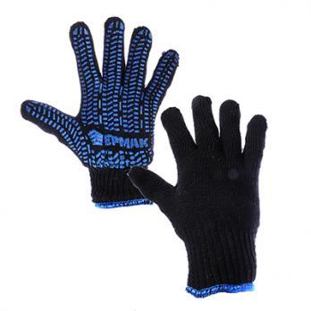Перчатки х/б двойные зимние с покрытием 638017 хедер