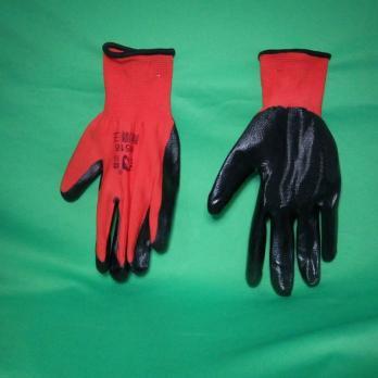 Перчатки нейлон с нитрилов покрытием, 12 шт Красные